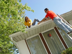 Handymen Checking For Clogged Gutters