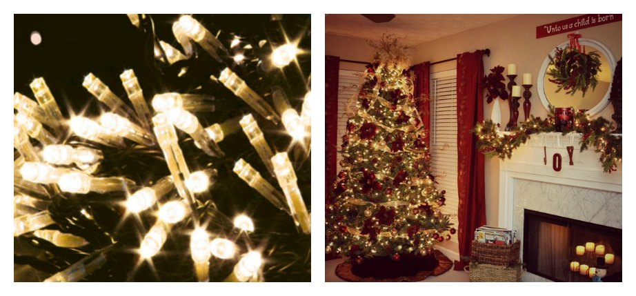 Christmas Tree With a Set of LED Lights Collage