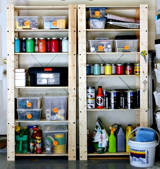 tools and other objects organized on shelves