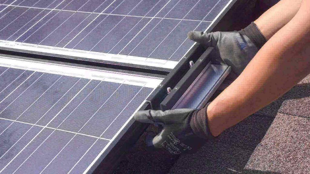 Handyman Mounting Solar Panels
