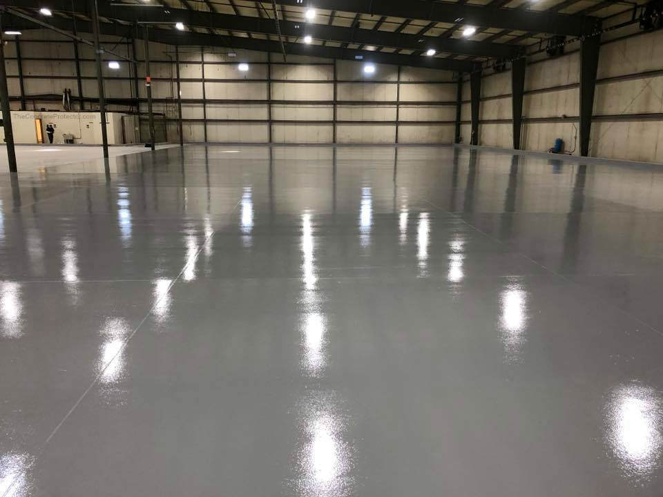 Wide room concrete flooring